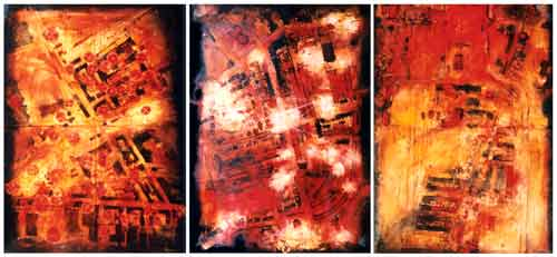 "Map : tryptich: Watercolour 144"" x 60"""